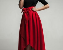 Red Formal Maxi Dress,Asymmetrical Skirt Dress with Bow.Occasion Dress Evening.