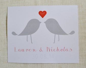 """Bird Poster, 8x10"""" perfect for Valentine's Day, Anniversaries or Wedding and Engagement Gifts! Digital File only."""