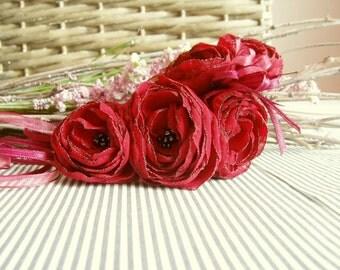 Floral Necklace, Fabric Flower Necklace, Textile Necklace, Bib Necklace