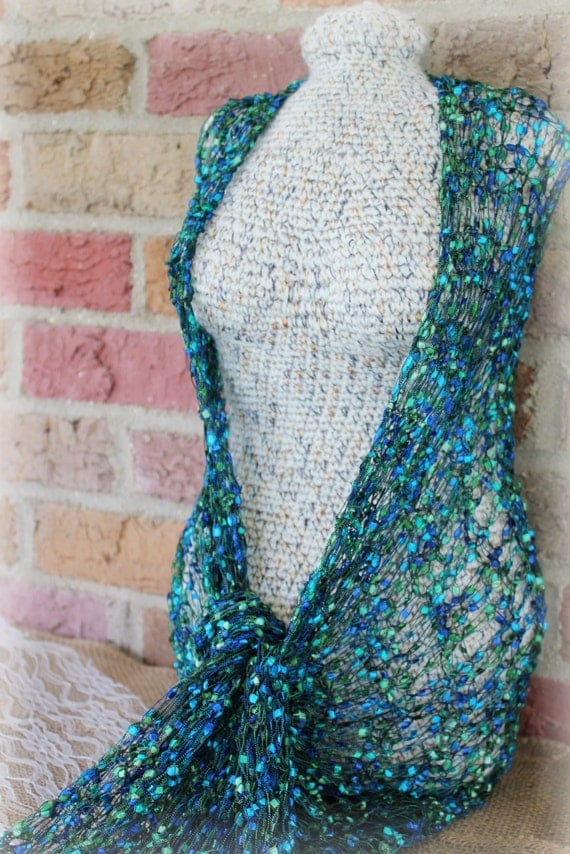 Peacock Colored Lace Knit Scarf wrap Jewel by ...