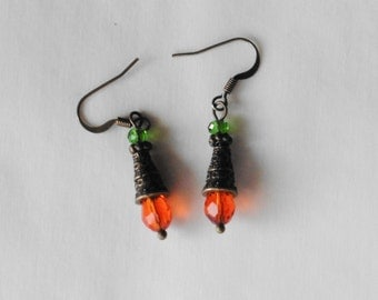 Orange Earrings Green Earrings Antique Bronze Green and Orange Dangle Earrings Drop Earrings