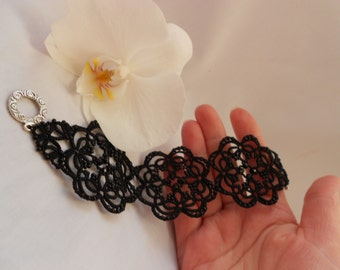 Black lace tatted  bracelet with black  beads Statement Beaded bracelet  Victorian bracelet Flower bracelet  Wide bracelet Black  jewelry