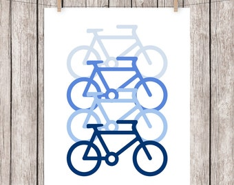 Bike Art Print Printable Bicycle Blue Wall Decor 8x10 Instant Download Digital File