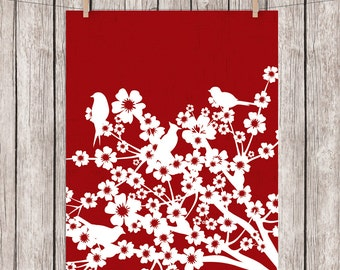 Birds Art Print Birds on Branches Printable Art Dark Red White Silhouette Wall Art, 8 x 10 Instant Download Digital File