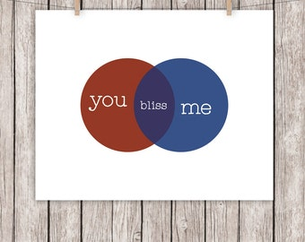 8x10 Printable Art Venn Diagram You Me Bliss Math Art Print Wall Art, 8 x 10 Instant Download Digital File