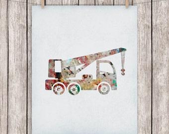 Construction Truck Printable Art Nursery Construction Crane Print Construction Vehicle Art Print 8x10 Digital Print Instant Download