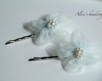 One Set of Ribbon Flowers Bobby Pins In Light Blue(2 pcs). Handmade Bobby Pins. Ready to Ship
