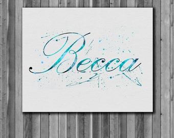 Custom Name, Watercolor Print, Art Print, instant download
