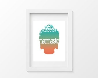 Printable Colorful Budda Art Poster, Instant Print, Printable Artwork, Yoga Yogi Art, Print Now, Namaste Typography Art