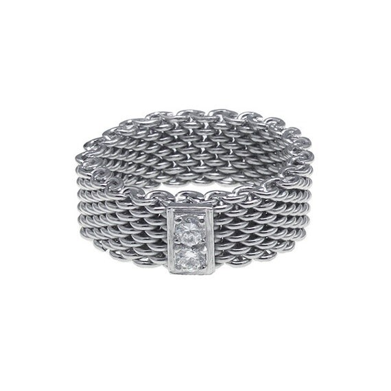 925 sterling silver cz bar mesh ring size 9