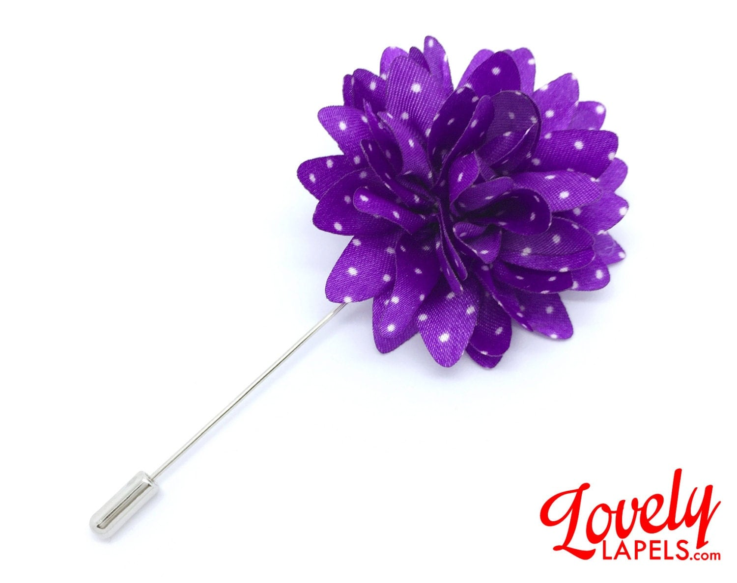 FLOWER LAPEL PIN Purple with White Dots Silk by LovelyLapels