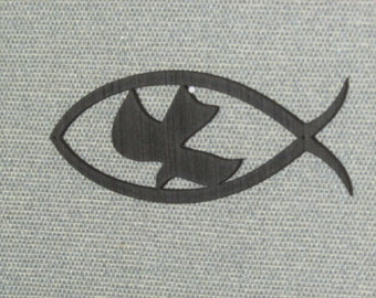 Christian Fish Symbol with a Dove In The Center Wood Wall Decor