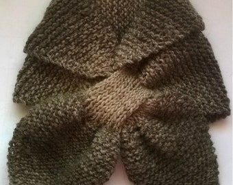 Earthy tones Keyhole scarf, Alpaca and Merino wool Scarf, winter neck scarf, knit Ascot scarf, neck warmer, scarflette, handmade scarf UK