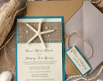 Tropical Beach Wedding Invitations (20), Starfish Wedding Invitations, Destination Invitation, Finger Starfish,
