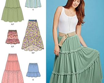 Simplicity Pattern 1110 Misses' Tiered Skirt with Length Variations