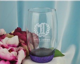 Teacher Laser Engraved Glass Tumbler Gift