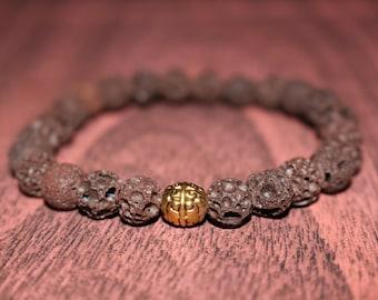 Brown Lava Rock Mens Bracelet