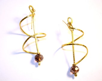 Spiral earrings with gold plated silver hooks and crystal beads