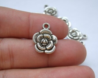 20 Rose charms 12*12mm antique silver DZ118