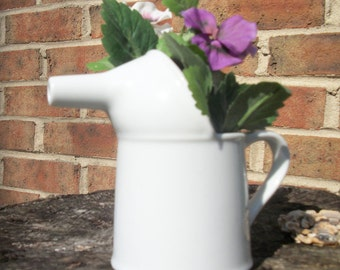 Small  White Ceramic Funnel Pitcher with Flowers