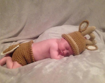 White Tail Deer Hat and Diaper Cover
