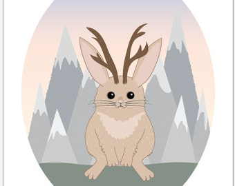 Jackalope Children's Art -  Jasper the Jackalope - Cryptozoology Critters PDF Download