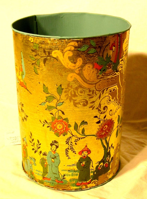 Gold oriental wastebasket bedroom decor metal trash can for Bedroom waste baskets decorative