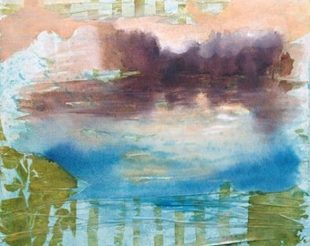 Sunset light original painting mixed media abstract landscape