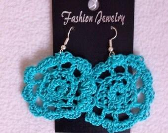 Turquoise crochet doilies earrings