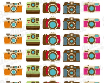 Set of 40 Vintage Style Camera Stickers for Various Planners, Calendars, and Journals