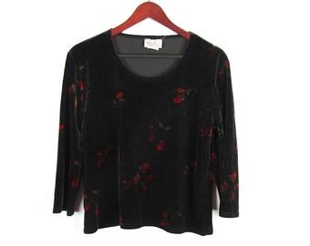Black Velvet Blouse Floral Print Top 3/4 Sleeves Size Large