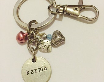Karma Charm, Pink Bell Keychain Made With Love