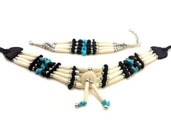 Traditional Handmade Native Tribal Buffalo Bone Hairpipe Choker Necklace and Bracelet Set