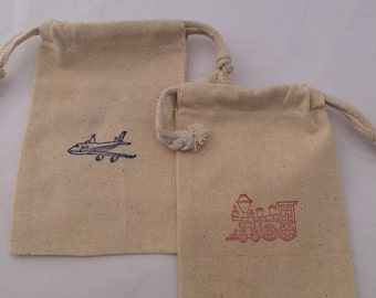 Trains and Airplanes Favor Bags: Muslin Bags With Transport Designs, Transport Party Supplies