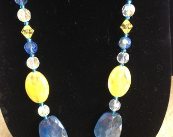 Touch of Sunshine in this Beautiful Blue,Soft Yellow and Crystal Necklace - Long Length