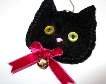 Black Cat Ornament PERSONALIZED Ornament, Names dates 1 line of text Black Kitten Ornament, Upcycled Sweater, Halloween Decoration