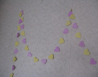 Garland 10 feet---Hearts-   Choose your colors- Glitter cardstock