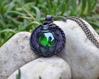 "Polymer clay pendant with glass cabochon - ""Remembrance"" MADE TO ORDER"