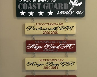 Home is where the military sends us sign- coast guard- navy- usmc-air force-army- military branch
