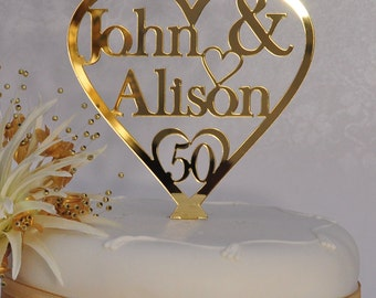 Unique Personalised 50th Golden Wedding Anniversary Double Name Heart Cake Topper Keepsake - Gold Mirror Acrylic - Little Shop of Wishes
