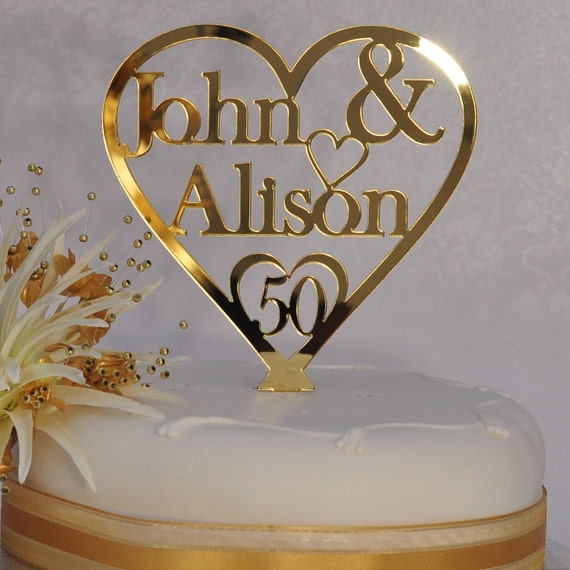 Personalised Anniversary Cake Images : Unique Personalised 50th Golden Wedding Anniversary Double