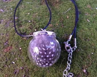 Guineafowl Glass Bubble Pendant Necklace