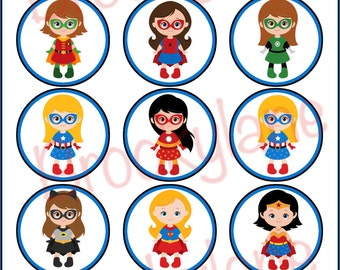 "Bottle Cap 1"" Superhero Girl, Superhero Birthday Party, Girl Party, Instant Download, Printable"