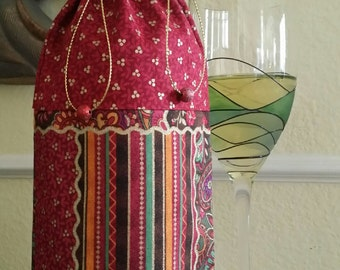 Wine Bag-Deluxe-Glitter Collection (Rouge n' Gold Berries n' Quilt)