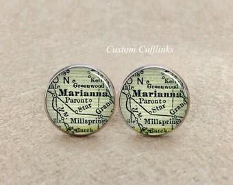 Marianna map cufflinks,Custom Map Cufflink,Weddings for Men,match locations ,Personalised Cufflinks, Silver Map Cufflinks,Birthday Present