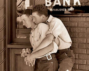 2 young men in an embrace, Gay Friendship Cards, Vintage Photo Cards, Vintage Photo, Gay Romance   ****VMFR1002