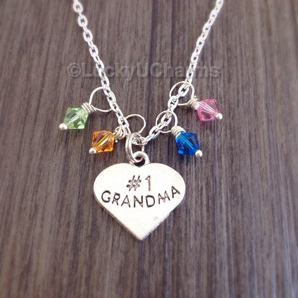 Personalized grandma necklace swarovski birthstone necklace for Grandmother jewelry you can add to
