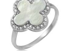Ivory Mother of Pearl 925 Sterling Silver Ring With Cubic Zirconia Accents Clover Shaped Stone