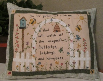 Cottage Chic Garden Pillow - Colored and Hand  Embroidered