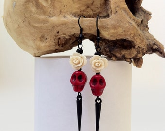 Day Of The Dead Earrings Dia De Los Muertos Memento Mori Gothic Horror Halloween Jewelry Skull Rose SpikeRed